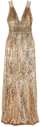 Jenny Packham Oriel Crystal-embellished Sequined Tulle Gown - Gold
