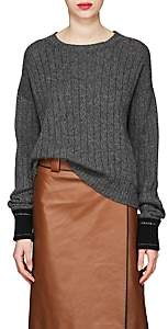 Prada Women's Logo-Detail Rib-Knit Cashmere Sweater-Gray