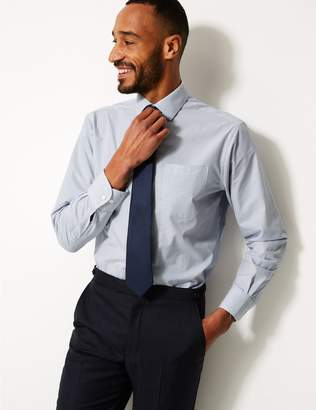 Marks and Spencer 2 Pack Cotton Blend Regular Fit Shirts with Tie