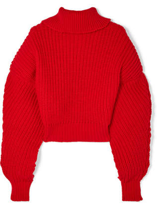 Awake Cropped Oversized Wool Turtleneck Sweater - Red