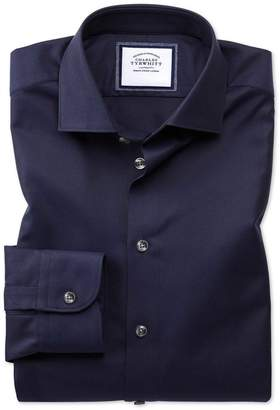 Charles Tyrwhitt Classic Fit Semi-Spread Collar Business Casual Navy Textured Egyptian Cotton Dress Shirt Single Cuff Size 17/34