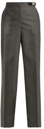 Prada High Waisted Damier Wool Trousers - Womens - Grey