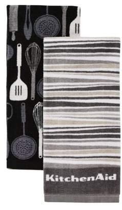 KitchenAid Utensils & Stripe Kitchen Towels, Set of 2, Grey
