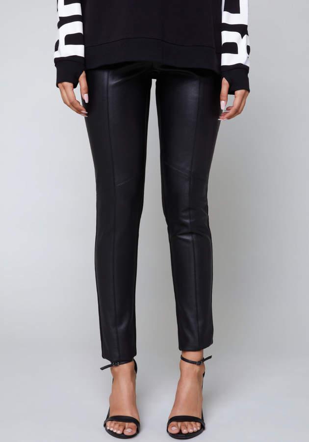 Front Faux Leather Leggings
