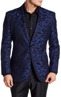 English Laundry Trim Fit Blue Printed Two Button Notch Lapel Sport Coat $295 thestylecure.com