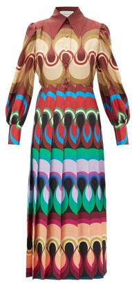 Gucci Pleated Wave Print Silk Satin Dress - Womens - Burgundy Multi