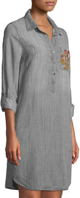 Dex Tab-Sleeve Embroidered Chambray Shirtdress