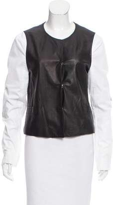 L'Agence Collarless Leather Jacket