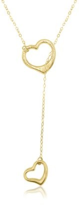 Online 10K Yellow Gold Diamond Cut Lariat Heart Pendant Necklace