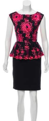 Alice + Olivia Embroidered Peplum Dress