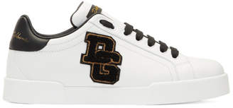 Dolce & Gabbana White and Black Embroidered Patch Sneakers