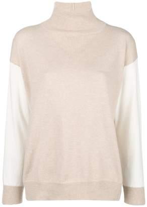 Agnona cashmere contrast sleeve sweater