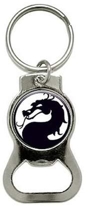 Dragon Optical Black On White Bottle Cap Opener Keychain Ring