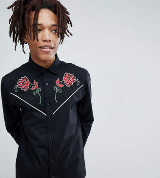 Reclaimed Vintage inspired western shirt with rose embroidery