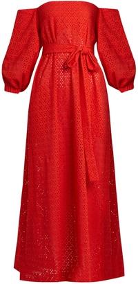 LISA MARIE FERNANDEZ Balloon-sleeve off-the-shoulder cotton dress $666 thestylecure.com