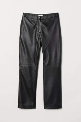 H&M Ankle-length Leather Pants - Black