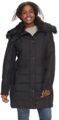 Plus Size Weathercast Faux-Fur Trim Puffer Jacket
