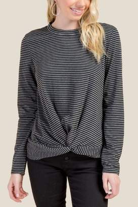 Chloe Striped Twist Front Basic Top - Charcoal