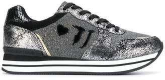 Trussardi Jeans glitter detail sneakers