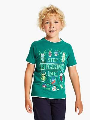 Joules Little Joule Boys' Bug Print T-Shirt, Green
