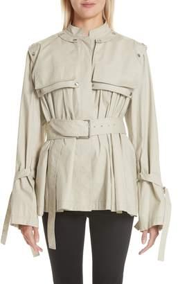 Proenza Schouler Pocket Detail Belted Cotton Blend Jacket