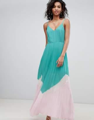 884811d2e6a2 Asos Design DESIGN Color Block Pleated Maxi Dress