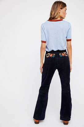 Understated Leather Embroidered Suede Pant