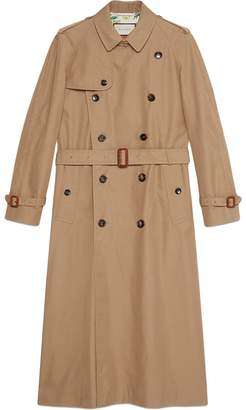 Gucci Gabardine trench coat with Chateau Marmont print