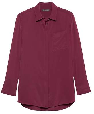 Banana Republic Parker Tunic-Fit Washable Silk High-Low Shirt