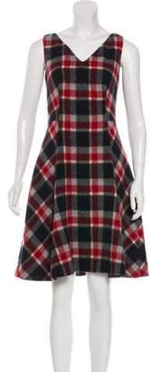 Prada Plaid Print Wool-Blend Dress