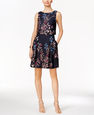 Ivanka Trump Floral Popover Fit & Flare Dress $138 thestylecure.com