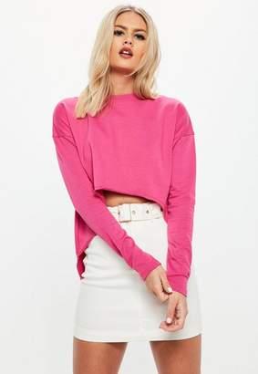 Missguided Pink Dipped Hem Long Sleeve Sweatshirt