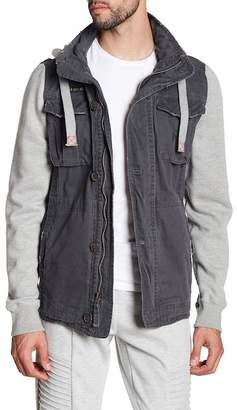 Triple Five Soul Funnel Collar Knit Sleeve Military Jacket