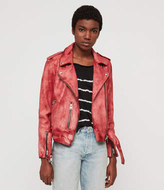 AllSaints Balfern Tye Dye Leather Biker Jacket