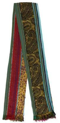 Etro Patterned Mesh-Trimmed Scarf