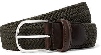 Andersons Anderson's - 3.5cm Green Leather-Trimmed Woven Elastic Belt