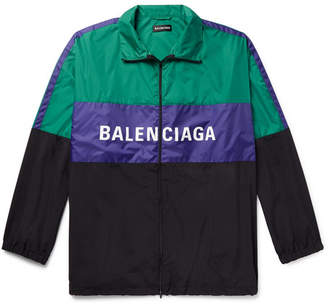 Balenciaga Logo-Print Colour-Block Shell Track Jacket
