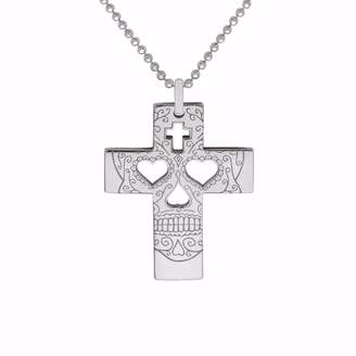 CarterGore - Silver Sugar Skull Cross Pendant Necklace