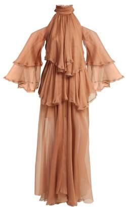 Maria Lucia Hohan Oksanna Halterneck Silk Mousseline Gown - Womens - Nude
