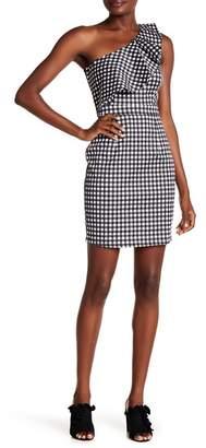 Rachel Roy Gingham One Shoulder Dress