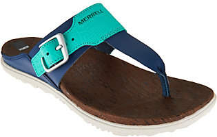 Merrell Leather T-Strap Sandals - Around TownPost Print