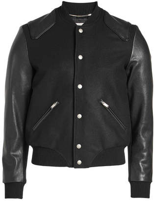 Saint Laurent Teddy Virgin Wool Blouson with Leather Sleeves