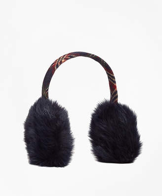 Brooks Brothers Wool and Shearling Tartan Earmuffs