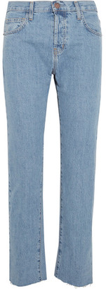 Current/Elliott - The Original Straight High-rise Jeans - Mid denim $200 thestylecure.com