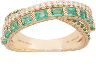 Judith Ripka 14K Gold Gemstone & Diamond Highway Ring