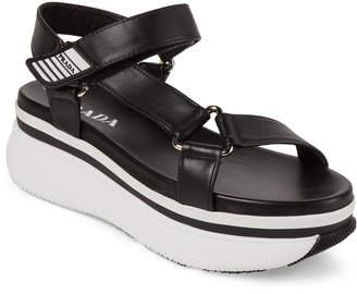 Prada Black Strappy Platform Sandals