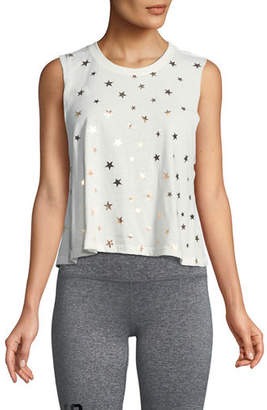 Spiritual Gangster Stars Foil Graphic Cropped Tank