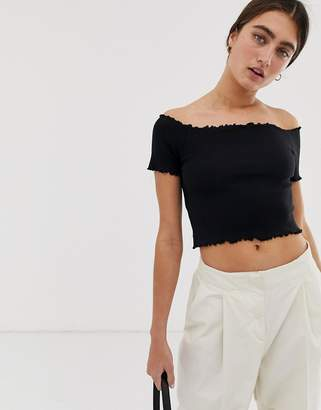46e3ce8c01a Monki off shoulder cropped top in black