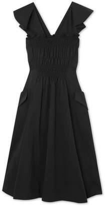 Carven Smocked Cotton-poplin Midi Dress - Black