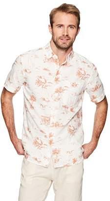 Isle Bay Linens Men's Slim Fit Short Sleeve Linen Cotton Button-Down Shirt 2Pink XXX-Large